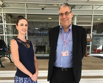 Cherish Life research director Kara Thomas and vice-president Alan Baker outside the Parliamentary Annexe after the last hearing.